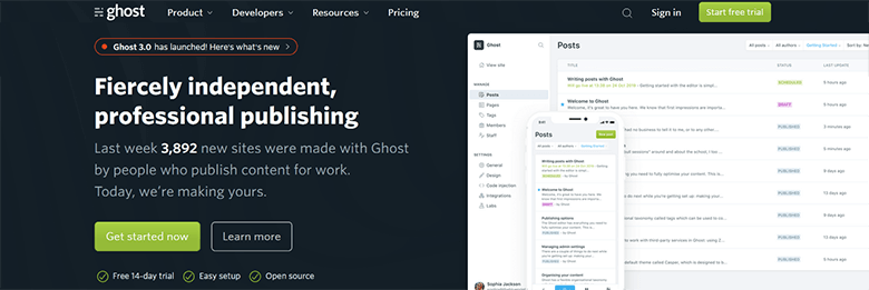 Ghost - Best Blogging platforms