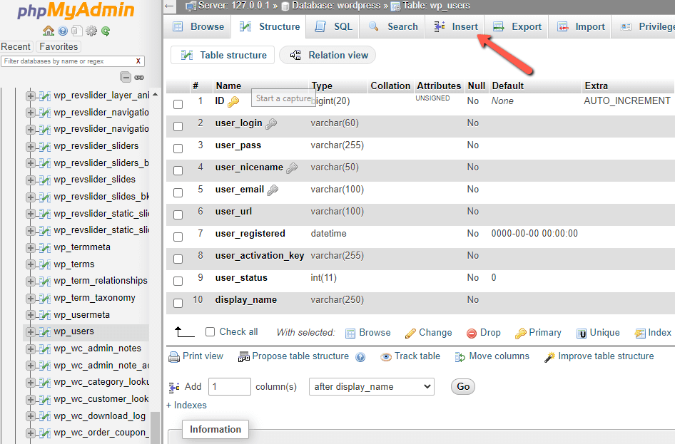 create-an Admin User-to the WordPress MySQL Database through phpMyAdmin1